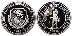 Switzerland Thurgau Weinfelden 1993 50 Francs Shooting Taler Proof
