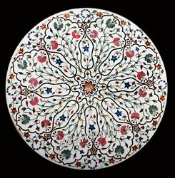 36 Inches Marble Inlay Table Top With Floral Design Dining Table Home Furniture