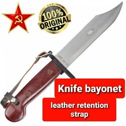 Russian Ussr Knife Bayonet Leather Retention Strap Wrist Belt Brown Authentic
