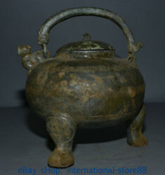 9.6 Old China Bronze Ware Dynasty Place Portable Beast Mouth Wine Pot Flagon