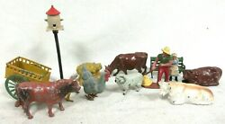 Lot Antique Lead Toys Barnyard Themed Farmer Animals By J Hill Britains And More