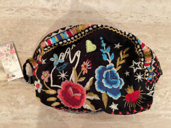 Johnny Was MARIS Velveteen Make Up Black Bag Cosmetic Case Clutch Pouch New $110.00
