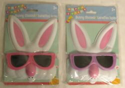 Set Of 2 Bunny Glasses With Ears For Kids Plastic Purple And Pink Easter - New