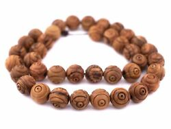 Carved Olive Wood Beads From Bethlehem 16mm Middle East Brown Round Large Hole