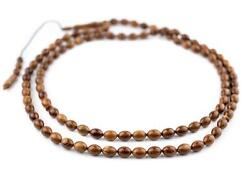 Brown Oval Wooden Arabian Prayer Beads 7x10mm Middle East 36 Inch Strand