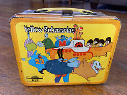 Vintage Beatles 1968 Yellow Submarine Metal Lunchbox Lunch Pail