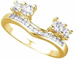 White Cz Solitaire Anniversary Wrap Enhancer Ring In 14k Yellow Gold Over Silver