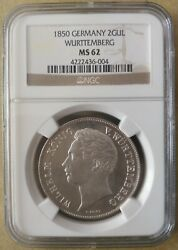 Ngc Ms62 Germany 1850 Wurttemberg Lion And Deer Silver Coin 2 Gulden