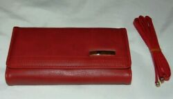 NWT Womens BE LEATHER Red Tri Fold CLUTCH Wallet Purse Double Stitched w Strap $11.50