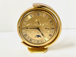 Looping Of Switzerland 5 Function Brass Table / Mantel Clock 1960's Perfect Cond