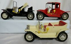 Set Of 3 Vintage Tin Friction Cars Ford T 1917 A B And C, Touring, Coupe, Runabout
