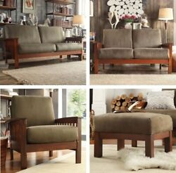Olive Green Mission Style Matching Sofa Loveseat Chair Ottoman Microfiber Sage