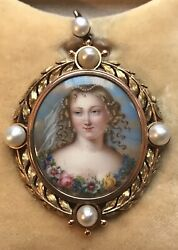 Antique French 18ct Painted Enamel Portrait And Natural Pearl Brooch / Pendant