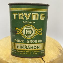 Rare Antique Spice Tin Tryme Brand Early Cinnamon Great Graphic Advertising