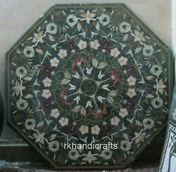 48 Inches Marble Hallway Table Top Green Dining Table Multi Stone Floral Pattern