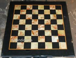 30 Inches Marble Sofa Table Top Handmade Game Table With Yellow Check Design