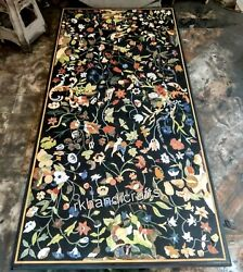 Multi Color Stones Art Hotel Table Top Black Marble Dining Table 30 X 72 Inches