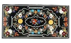 Multi Stones Inlay Art Royal Dinning Table Top Marble Island Table 30 X 60 Inch