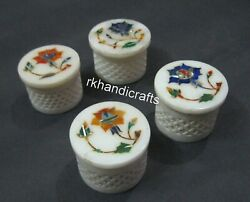2.5 Inch Marble Box Hand Carved Multi Use Box Gift For Christmas Set Of 4 Pieces