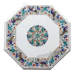 21 Inch Marble Patio Coffee Table Top Inlay Nature Art Sofa Table For Christmas