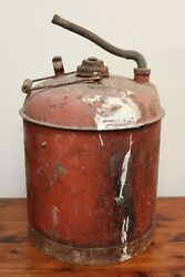 Vintage Eagle Oil And Gas Red 5 Gallon Metal Gas Can With Flex Spout Filler
