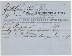 Rare Billhead - Taber Co - Richmond And Almy New Bedford Ma 1855 Whaling - Jail