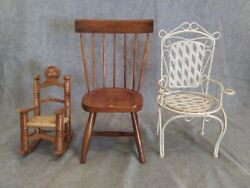 Lot 3 Doll Furniture Chairs 1 Wood Spindle 1 White Fancy Metal 1 Wood Rocking