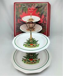 Vintage Pfaltzgraff Christmas Heritage Holiday Cookie Candy Cupcake 2 Tier Tray