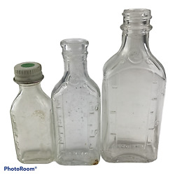 Lot Of 3 Vintage Collectible Medical Bottles Various Sizes Volumes Clear