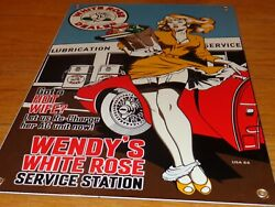 Vintage Wendys White Rose +model And Convertible 16 Porcelain Metal Gas Oil Sign