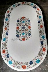 Multi Gemstones Inlaid Coffee Table Top Oval Marble Kitchen Table 24 X 48 Inches