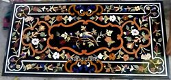 Marquetry Art Marble Dining Table Top Black Hallway Table Top 30 X 60 Inches