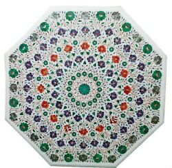 36 Inches Marble Dinning Table Top Inlay With Multi Flowers Art Coffee Table Top