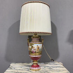 Antique And Important Lamp Porcelain Vienna With Painting Period Xix Century