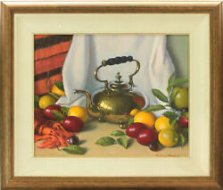 Oil On Board By Peter Brown. Still Life The Brass Teapot