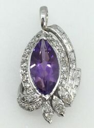 Estate 3ct Amethyst And 1.1cttw Diamond Pendant In 14k White Gold - Item 10045