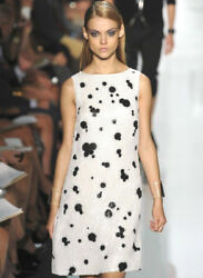 Collection White Silk Sequin Embellished Print Dress 2 4
