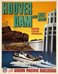 Original Vintage Poster Hoover Damm See Mead Union Pacific Railroad Reise Leinen