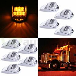 9pcs Cab Marker Roof Running Top Clearance Lights Amber 17led For Truck Trailer