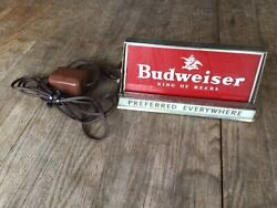 Vintage Budweiser Counter Top Lighted Advertising Sign Works-displays Well