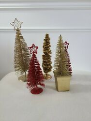 Vintage Lot 5 Bottle Brush Christmas Trees W/ Wire Star Metal Base Gold And Red