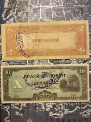 Rare Old Banknotes 10 And 5 Pesos Japanese Goverment Ww2 Stamp On Verso