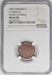 Chicago Illinois Marsh And Miner Civil War Store Card Token Il 150ak-2a Ngc Ms66