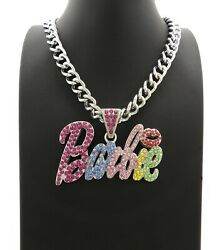New Barbie Pendant Multi Stone And 9mm 18 Cuban Link Chain Necklace.