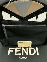Fendi Monster Backpack Nylon With Leather And Fur Mini Authentic