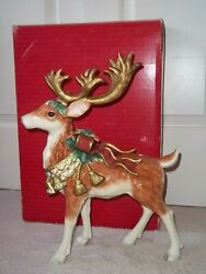 """Rare Retired Fitz And Floyd Classic 17"""" Standing Christmas Reindeer W/ Box"""