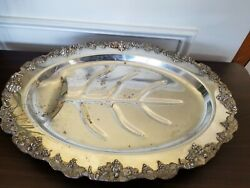 Vintage Silver Plated Footed Platter Tray Meat Serving Tray W/ Well Ornate Grape