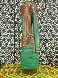 Masters Augusta National Green Canvas Brown Leather Golf Cart Bag W/ Cover - New