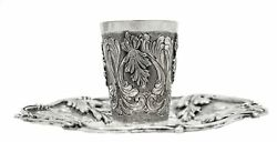 Fine Italian 925 Sterling Silver Handmade Chased Floral Leaf Applique Cup And Tray
