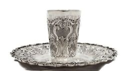 Italian 925 Sterling Silver Handcrafted Chased Floral Matte Cup And Tray